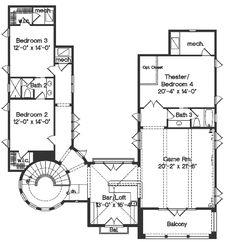 Mediterranean Style House Plan - 4 Beds 3.50 Baths 4923 Sq/Ft Plan #135-166 Floor Plan - Upper Floor Plan - Houseplans.com