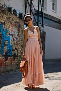 LOVE the pink flow-y skirt! Just needs a little bolero jacket...