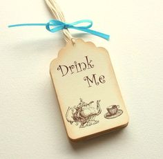 Mad Hatters Tea party wedding//birthday decorations 6 Drink Me Wine Charms