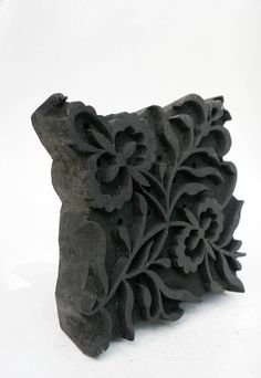 Hand carved antique india wood block flower stamp for wood block printing on textiles