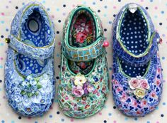 These are incredible! Candace Bahouth is a collector of mosaic art shoes. She is mosaic artist who creates wonderful artworks from many materials and in many sizes. She inspiraion have when she walks into her garden workshop in Pilton, Somerset. Using found materials, she uses tiles, mirrors, shells, buttons and beads fill every surface into her stunning works.
