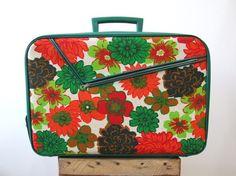 Flower Power Vintage Suitcase