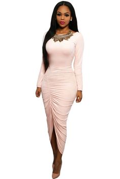 1d9bfd3edecd Soft Pink Ruched Front Maxi Dress Party Dresses For Women, Dresses For  Work, Sexy