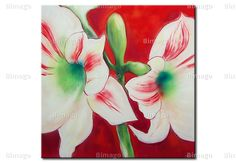 Gigli su sfondo rosso, quadro su tela // Flowers, lilies on red background painting canvas art