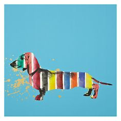 Buy Gallery One Sausage Dog Stripes Picture Box, 50 x 50cm Online at johnlewis.com