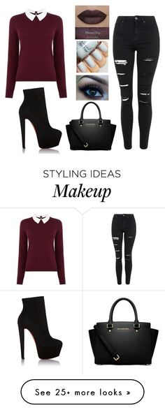 """Untitled #375"" by katezquaddirectioner on Polyvore featuring Oasis, Topshop, Christian Louboutin and MICHAEL Michael Kors"