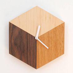 wooden cube clock by bloq | notonthehighstreet.com