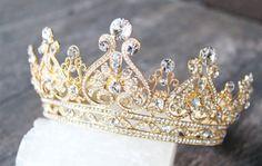 Full Bridal Crown with Pearls- ALEXANDRA Swarovski Crystal Wedding Crown, Crystal Wedding Tiara, Diamante Tiara, Bridal Tiara Royal Crowns, Royal Jewels, Tiaras And Crowns, Crown Jewels, Pageant Crowns, Princess Crowns, Princess Style, Bridal Crown, Bridal Tiara