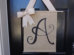 Monogram Chevron Bow Burlap Door Sign Shabby Chic Hand Painted Initial Name Wall Decor Art Spring Wreath Door Hanging Personalized Custom on Etsy, $28.50