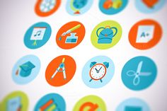 Check out Flat School and Education Icons Set by painterr on Creative Market