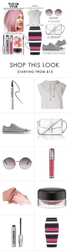"""""""Think Pink - Street Style Chic"""" by latoyacl ❤ liked on Polyvore featuring Bare Escentuals, adidas, Converse, L.K.Bennett, Monki, Urban Decay, MAC Cosmetics and Oasis"""
