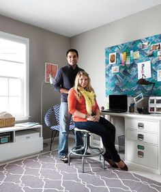 Joe and Jess Mauras | The work space/craft room of Pennsylvania newlywed Jess Mauras (shown here with husband Joe) was a pile of stress and ribbons, devoid of inspiration—and, for that matter, shelving. Real Simple transformed it into three tidy zones that foster calm and creativity.