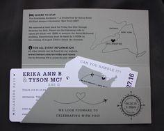 Dark Purple & Gray USA Map, Airplane & Dots Airline Ticket Wedding Invitations