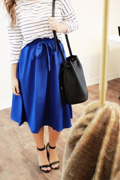 Bucket Bags and Bows // by Courtney Toliver | Fashion | Style | Modest | Heels | Skirt | Outfit | Stripes |