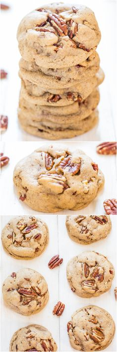 Buttery Pecan Pumpkin Spice Cookies - Buttery soft dough with big chunky pecans in every bite! Salty-and-sweet and so hard to resist!!