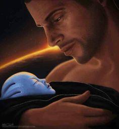 Shepard and baby asari