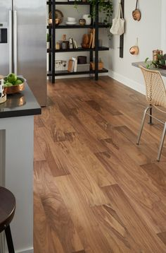 Light Brown Walnut Wire Brushed Water-Resistant Engineered Hardwood - 6mm x 6 1/2in. - 100503440 | Floor and Decor