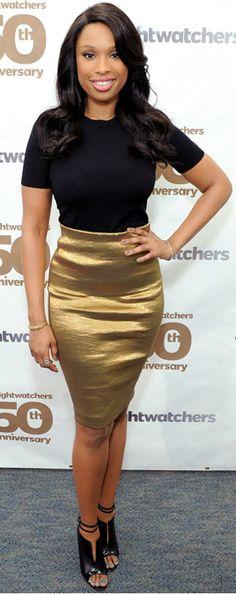 Jennifer Hudson: Skirt – Donna Karan  Shoes – Christian Louboutin