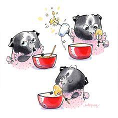 No automatic alt text available. Pug Puppies, Cute Dogs And Puppies, Doggies, Teacup Pug, Teacup Chihuahua, Funny Animal Comics, Pug Illustration, Pug Cartoon, Cute Pugs
