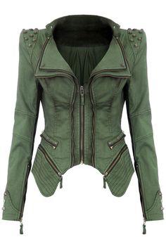 Studded Shoulder Denim Blazer - Green