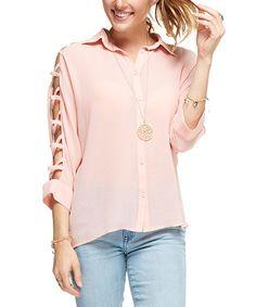 This Blush Crisscross Cutout Top is perfect! #zulilyfinds