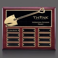 Promotional Products Ideas That Work: Shovel Perpetual Plaque - Rosewood 12 Plate. Get yours at www.luscangroup.com