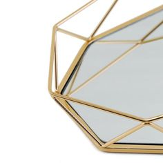 Metal Decorative Serving Trays - Octagon Mirrored Vanity Tray | eFavorMart Mirror Vanity Tray, Mirrored Vanity, Octagon Mirror, Serving Tray Decor, Tray Styling, Buy Crystals, Jewelry Tray, Brass Color, Decorative Accessories