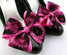 Pink Shoe Clips 4 Shoes Fuschia Black Lace Satin Dorothy Bows Goth Party Cerise | eBay