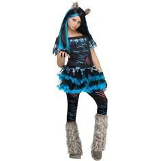 This Wicked Wolfie Girls Costume is a howling good costume for Halloween or any horror or dress up event. Blue and black tutu style dress with plaid and ...  sc 1 st  Pinterest & Wicku0027d Wolfie Teen Halloween Costume - One Size Girlu0027s Multicolor ...