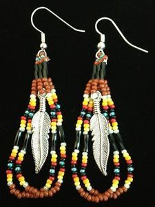 Native American Beaded Earrings | Details about Navajo Native American Coral Beaded Feather Earrings