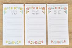 Free Floral To Do List Printables