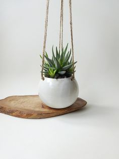 White Hanging Planter - Hanging pot for small plants - White Handmade Ceramic hanging planter - succulent and small/medium plants by viCeramics on Etsy