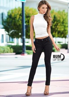 BUM LIFTER JEANS, SEAMLESS MOCK NECK TOP, PEEP TOE ANKLE STRAP HEEL