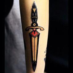 Classy dagger tattoo by mick gore Torso Tattoos, Forearm Tattoos, Ink Tattoos, Tatoos, Classy Tattoos, Badass Tattoos, Amazing Tattoos, Knife Tattoo, Bee Tattoo