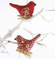 Fabric bird Christmas ornament with clothespin attachment