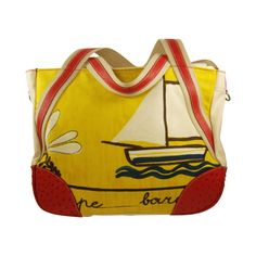 Prada Painted Extra Large Canvas and Ostrich Tote Bag   From a collection of rare vintage handbags and purses at http://www.1stdibs.com/fashion/accessories/handbags-purses/