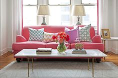 Pink Couch - Design photos, ideas and inspiration. Amazing gallery of interior design and decorating ideas of Pink Couch in bedrooms, living rooms, girl's rooms, laundry/mudrooms by elite interior designers - Page 1 Interior Exterior, Home Interior, Interior Decorating, Decorating Ideas, Home Design, Design Ideas, My Living Room, Home And Living, Console Table Behind Sofa