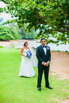 Romantic Tropical First Look in Kauai | Clane Gessel Photography on @myhotelwedding via @aislesociety