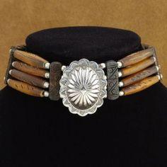 Native American Bone Chokers for Sale - Native American Bone Necklaces Native American Decor, Native American Beadwork, Native American Fashion, Native American Jewelry, American Indians, Tribal Necklace, Tribal Jewelry, Turquoise Jewelry, Indian Jewelry