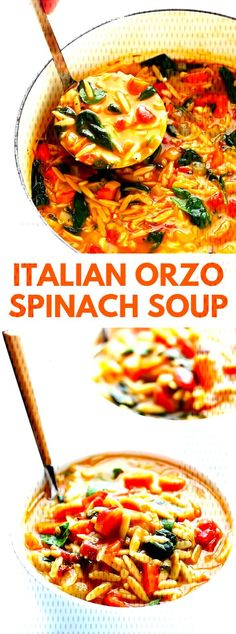 This tasty Italian Orzo Spinach Soup is straightforward, delightful, thus soothing. I'm additionally an enthusiast of this formula sinc. Italian Soup Recipes, Orzo Recipes, Healthy Soup Recipes, Vegetarian Recipes, Meat Recipes, Healthy Italian Recipes, Italian Orzo Spinach Soup, Orzo Soup, Italian Spinach Recipe