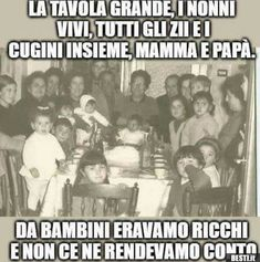 La tavola grande | BESTI.it - immagini divertenti, foto, barzellette, video Wise Quotes, Inspirational Quotes, Dad Meme, Nostalgia, Childhood Days, First Story, Time Capsule, Sweet Memories, My Memory