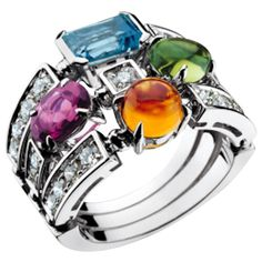 View this item and discover similar for sale at - A classical tasteful Bulgari creation Allegra ring colorful and joyful. Color collection 750 white gold ring with pink tourmaline, peridot, Wedding Jewelry, Gold Jewelry, Jewelry Rings, Jewelery, Fine Jewelry, Jewelry Box, Jewelry Ideas, Pink Diamond Ring, Topaz Ring