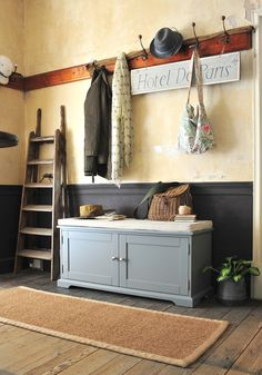 Click through to read the full article or Pin to save for later! Grey hallway furniture, country house, country living, fishing basket, wooden floors, cottage hallway, country cottage, rustic hallway, modern country, hallway storage.