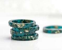 Teal Resin Stacking Ring Gold Flakes Thin Faceted Ring OOAK boho minimalist jewelry deep teal emerald by daimblond on Etsy https://www.etsy.com/listing/127394782/teal-resin-stacking-ring-gold-flakes