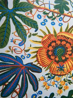 From an excellent series of close-ups of Josef Frank designs. Love his colours, his whimsy, his way of filling and using space, and his naturalistic/fantastical take on florals. Textile Patterns, Textile Design, Print Patterns, Joseph Frank, Folk Art, Tapestry, Painting, Inspiration, Color