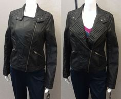 Just $59.99 & Free Ship !! Rock & Republic Women's Motorcycle Jacket Faux Leather MED NEW/NWT Black $90 RET #RockRepublic #Motorcycle