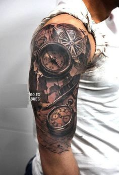 Tatto Ideas 2017 – Realistic and wath tattoo on half sleeve – 100 Awesome Compas… Tatto Ideas 2017 – Realistisches Tattoo auf halben Ärmeln – 100 tolle Kompass Tattoo Designs … – Compass Rose Tattoo, Compass Tattoo Design, Vintage Compass Tattoo, Back Tattoos For Guys Upper, Tattoo Bras Homme, Back Of Neck Tattoo, Neck Tattoos, Arm Tattoos For Men, Cool Half Sleeve Tattoos