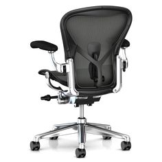 Buy Herman Miller Aeron Office Chair, Graphite/Polished Aluminium, Size B, x x from our Office Chairs range at John Lewis & Partners. Arne Jacobsen, Plywood Furniture, Modern Furniture, Furniture Design, Eames, Industrial Office Chairs, Smart Materials, Black Dining Room Chairs, Lounge Chairs
