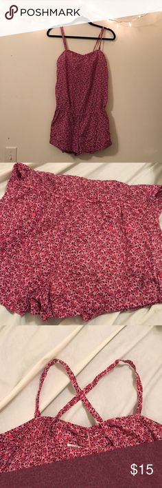 PINK Victoria's Secret Floral Romper This romper is so cute! 100% cotton makes this lightweight and soft. Missing tie around waist but waist is still gathered with elastic. Otherwise in good condition! Reasonable offers accepted. Bundle for private discount 💕 PINK Victoria's Secret Other