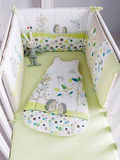 Tour de lit bébé brodé thème Pic-nic vert - Vertbaudet